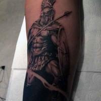 Medium size black and white leg tattoo of ancient warrior