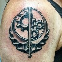 Medium size black ink shoulder tattoo of Star Wars themed symbol