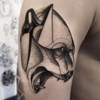Medium size blackwork style painted by Michele Zingales upper arm tattoo of roaring bear head