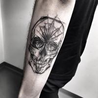 Stile di schizzo di medie dimensioni dipinto dal tatuaggio del braccio demoniaco di Inez Janiak