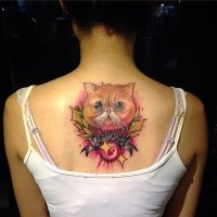 Memorial for girls style colored upper back tattoo of cat with lettering and leaves