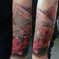 Memorial like big colored romantic letter with flowers tattoo on arms