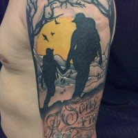 Memorial like colored camping father and son tattoo on shoulder