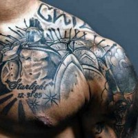 Memorial style black ink glorious Spartan army tattoo on chest with date