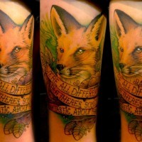 Memorial style colored realistic fox with lettering tattoo on thigh