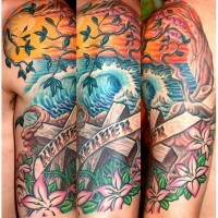 Memorial style multicolored ocean shore half sleeve tattoo with cross and lettering