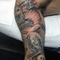 Memorial themed colored sleeve tattoo of cemetery combined with dollars