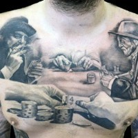Men playing poker game scene black and white realistic gambling tattoo on chest