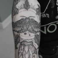 Men's black-and-white moth in sun with leaves tattoo on forearm