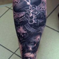 nativo messicano soldato scheletro fresco con donna tatuaggio su gamba