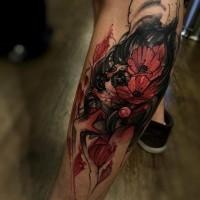nativo messicano tradizionale colorato ritratto donna con fiori tatuaggio su gamba