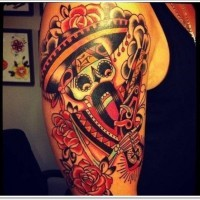 Mexican skeleton with a mustache tattoo on half sleeve