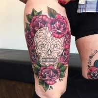 Mexican style black and white skull tattoo with roses