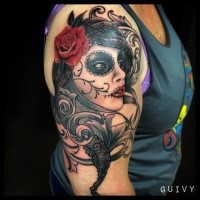 Mexican style colored shoulder tattoo of woman portrait stylized with red rose