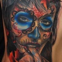 Mexican style colored side tattoo of seductive woman portrait