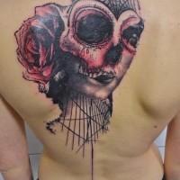 stile messicano colorato cranio con fiore tatuaggio su schiena