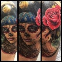 Mexican style colored woman face with roses tattoo