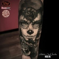 Mexican style detailed arm tattoo of woman with makeup and rose