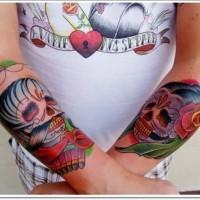 Mexican sugar men and women forearm tattoo