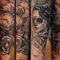 Mexican traditional colored forearm tattoo of woman portrait wit clock and rose