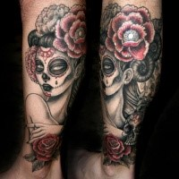 Mexican traditional colored leg tattoo of woman with flowers