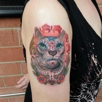 Mexican traditional colored shoulder tattoo of cat with flowers