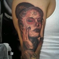 Mexican traditional colored very detailed shoulder tattoo of woman portrait