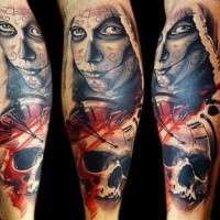 Mexican traditional style colored arm tattoo of woman face with skull and clock