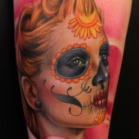 Mexican traditional style colored shoulder tattoo of realistic woman portrait