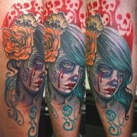 Mexican traditional style colored tattoo of crying woman with flowers