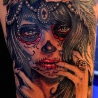 Mexican traditional style shoulder tattoo of seductive woman face