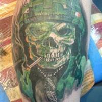 Military skull tattoo on leg