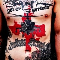 Military style massive colored awesome tattoo on whole chest and belly