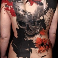 Military style memorial colored massive tattoo with helicopters and skull on whole back