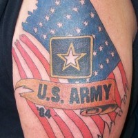 Military tattoo on shoulder