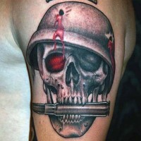 Military themed colored soldier skull with bullet upper arm tattoo