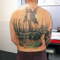 Military troops on flowering field with guardian angel on top colored whole back tattoo