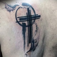 Minimalism style beautiful black cross tattoo for men