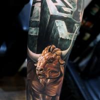 Minotaur and labirinth tattoo on forearm