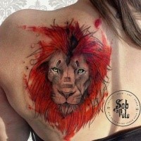 Modern art style colored scapular tattoo of beautiful looking lion