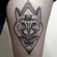 Modern dot style thigh tattoo of cat portrait with butterfly