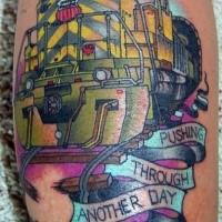 Modern procurando tatuagem colorida de trem moderno com letras
