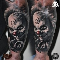 Modern style colored arm tattoo of maniac clown