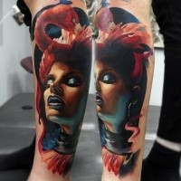 Modern style colored arm tattoo of mystical woman with bird
