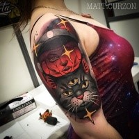 Modern style colored cat with alien tattoo