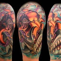 Modern style colored chained shark tattoo on shoulder with octopus warrior