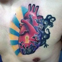 Modern style colored chest tattoo of heart with monsters and keyhole