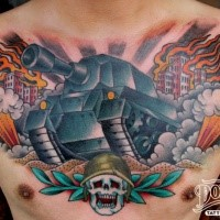 Modern style colored chest tattoo of large tan and burning city