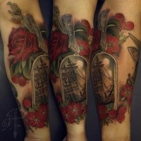 Modern style colored forearm tattoo of bottle with ship and flowers