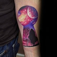 Modern style colored forearm tattoo of key whole stylized with walking human under night sky
